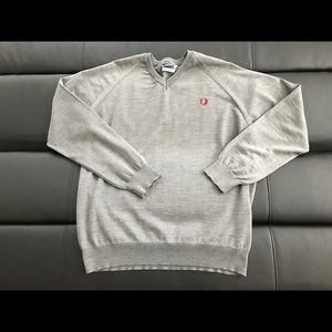 XL gray Fred Perry v neck sweater / jumper